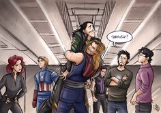 The Avengers - The Brothers' Hug by *Renny08