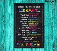 Library Sign Library Decor Librarian Gift Library Rules