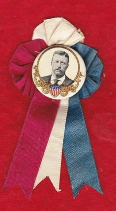 "1904 Teddy Roosevelt Campaign Ribbon Rosette with 1 1 4"" Celluloid Pinback 