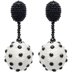 Oscar de la Renta Polka Dot Sequin Ball Earrings (6.344.575 IDR) ❤ liked on Polyvore featuring jewelry, earrings, clip on earrings, holiday earrings, plastic clip on earrings, long earrings and anchor earrings