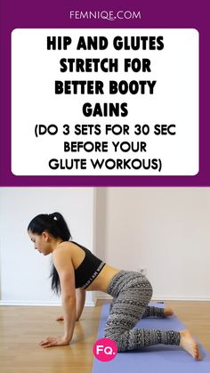 Never start your glutes workout without stretching your hips and glutes. This speeds-up your booty gains and prevents muscle issues. Pilates Workout Routine, Hip Workout, Workout Videos, Glute Workouts, Workout Plans, Stretches Before Workout, Pilates Moves, Pop Pilates, Pilates Video