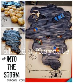 "Into the Storm at Skyzone | Tornado Cupcake Birthday Cake (Totally random find on my feed, but Nick did say he wanted a ""weather birthday"" this year. Hmmmmm.....)"