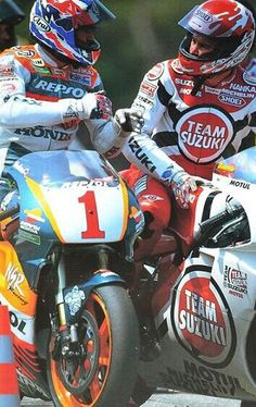 1996 French GP -Mick Doohan and Darryl Beattie Flat Track Motorcycle, Motorcycle Racers, Racing Motorcycles, Grand Prix, Motogp Race, Side Car, Japanese Motorcycle, Suzuki Gsx, Old Bikes