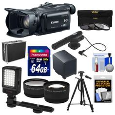 Canon Vixia HF G30 Flash Memory Wi-Fi 1080p HD Digital Video Camcorder with 64GB Card + Battery + Case + LED Video Light + Microphone + 3 Filters + Tripod + Tele/Wide Lenses + Kit