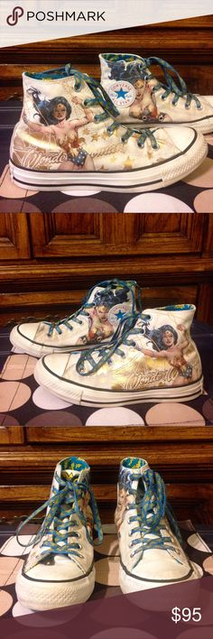 "CONVERSE Official ""Wonder Woman"" Hi-Tops EUC 7 CONVERSE Official ""Wonder Woman"" Hi-Tops EUC 7 Converse Shoes Athletic Shoes"