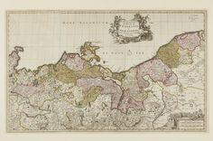 A hand-coloured map of Mecklenburg-Vorpommern by Nicolas Visscher