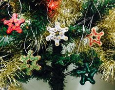 Xmas tree ornaments from recycled bike bits on sale at The Cycle Hub, Grimsby