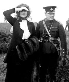 Sir Winston Churchill and his wife Clementine, during a visit to Aldershot, Hampshire, for army manueuvres in 1910