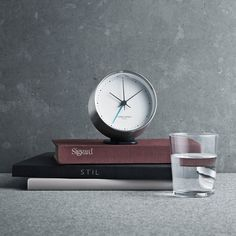 HK clock with alarm, stainless steel