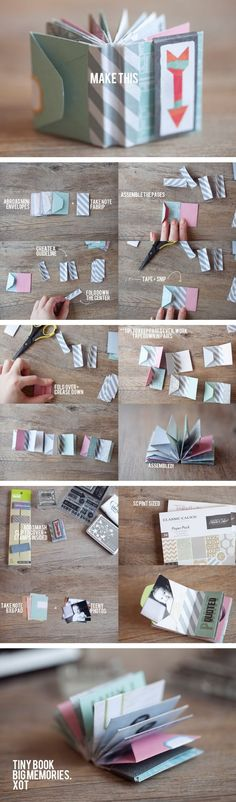 The best DIY projects & DIY ideas and tutorials: sewing, paper craft, DIY. Diy Crafts Ideas Ideas para crear un mini libro que cuente su historia de amor -Read Diy Paper, Paper Crafts, Fun Crafts, Diy And Crafts, Book Crafts, Envelope Book, Origami Envelope, Diy Envelope, Ideias Diy