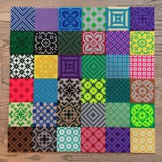 Inspiration comes from other crafts too... perler beads mimicking quilting - nice!