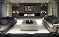 Image result for modern finished basement with fireplace stone and tv