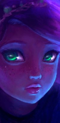 Green-eyed girl avatar with freckles in violet tones, the artist DestinyBlue