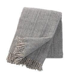 Klippan Bjork Grey Eco Lambs Wool Throw