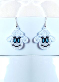 Sheep earrings 1 design - 2 sizes - FSL - lace - Machine embroidery digitization./INSTANT DOWNLOAD