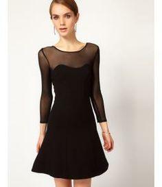 ASOS.com (UK) - Drop Waist Dress With Mesh Sleeve  - little black dress!