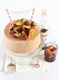 Pimm's Cake with Strawberry-Pimms Frosting, one of 22 Pimm's-Filled Ways To Toast The Royal Baby