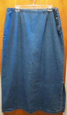EDDIE BAUER Long BLUE JEAN DENIM Skirt Side Slit Womens Size 18 Pencil Skirt #EDDIEBAUER #StraightPencil