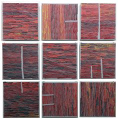 Ronnie Tjampitjinpa Fire lines (suite) 2013 acrylic on linen 180x180cm FW14266