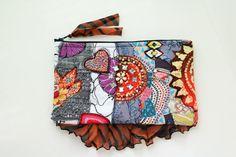 Sacchetto di frizione fiammeggiante Collage borsa tessuto arte borsa a mano sera bohemien Eco amichevole Beaded Upcycle riciclare Patchwork SaidoniaEco