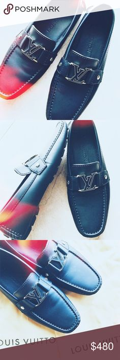 louis vuitton monte carlo moccasin shoes one-hundred percent authentic pair of louis vuitton men shoes! the monte carlo moccasin is in marine, only has been worn once! dust bags and box included with purchase. if you would feel more comfortable without the filters, please let me know and i will show without them. Louis Vuitton Shoes