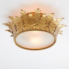 Adorned with intricate gilded leaf details, this glamorous Crown Flushmount is fit for royalty. The regal light gives off a warming glow that reflects beautifully in any space. Room Decor For Teen Girls, Teen Girl Bedrooms, Pottery Barn Kids Backpack, Pendant Lighting Bedroom, Pottery Barn Teen, Gold Light, Flush Mount Lighting, Home Decor Bedroom, Bedroom Ideas