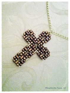 *P Laudomia Cross Pendant pdf tutorial with rulla beads by 75marghe75, $9.00