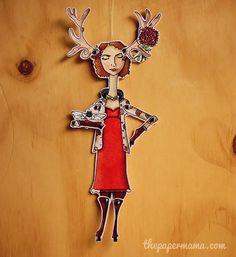 Deer Girl Paper Doll ..