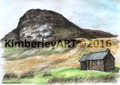 Framed Scottish Mountain Cottage Painting Print   Corrour Bothy is a well known bothy for hikers and travelers to stay and shelter from the harsh Scottish Highlands weather. The small cottage is situated on the Lairig Ghru between Braemar and Aviemore in the Highlands of Scotland. My painting captures the cottage and the view behind of the mountain known as Devils Point. The huge hills behind make the cottage seem even smaller! I came across this Bothy while taking part in my Gold Duke of…