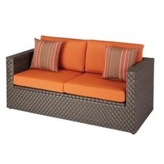 Hampton Bay Moreno Valley Patio Loveseat with Sunbrella Canvas Rust Cushions-FRS01583C - The Home Depot