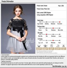 2016 Simple And Elegant Bow Lace Black Dress