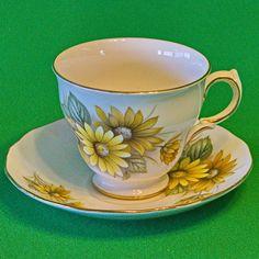 Vintage Royal Vale (England) Bone China Teacup And Saucer Set, Yellow Flowers