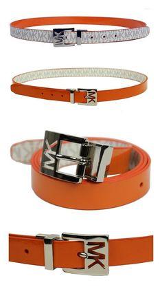572f11f8a2a $38.99 - Michael Kors Women's 25mm Reversible Patent to Logo PVC Belt  Orange Belt #michaelkors