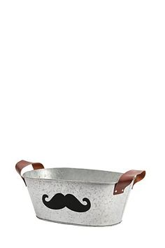 """Fun and functional, this tin storage container with handles and a moustache shaped chalk board is perfect for your home. Available in small and medium.<div class=""""pdpDescContent""""><BR /><b class=""""pdpDesc"""">Dimensions:</b><BR />L32.5xW19xH14 cm</div> Storage Containers, Chalkboard, Tin, Moustache, Medium, Detail, Storage Bins, Mustache, Pewter"""