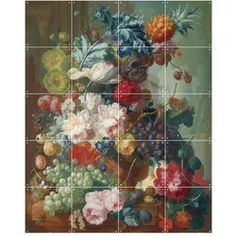 wanddecoratie Still Life of Fruit and Flowers (80x100 cm)
