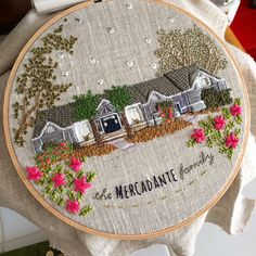 Embroidered houses by The Monster's Lounge