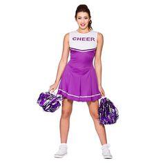 ad70c76fbfac Ladies Cheerleader High School Fancy Dress Costume Red,Blue,Pink,Purple or  Black