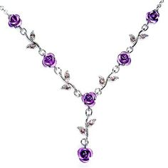 Necklace for the wedding :)   Swarovski Crystal Purple Rose Flower Floral Charm by Kashuen, $40.00