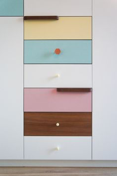 Atelier Antipode   pastel patchwork   wardrobe of white laquered doors matched with pastel laminate and oak, handmade meranti handles and copper cabinet knobs by Schoolhouse Electric Furniture, Laminate, Cabinet, Door Handles, Cabinetry, Built In Wardrobe, New Homes, Home Decor, Shelving