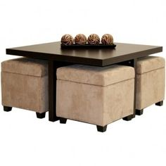 A trendy, attractive coffee table that is able to decorate living rooms of different stylizations. It is equipped with four ottomans used for storing books, toys and other items. They are made of microfiber.