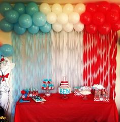 Ideas Baby Shower Ideas Dr Seuss Dessert Tables For 2019 Dr Seuss Birthday Party, Baby 1st Birthday, 2nd Birthday Parties, Birthday Ideas, Birthday Balloons, Birthday Table, Birthday Celebration, 2nd Baby Showers, Baby Shower Themes