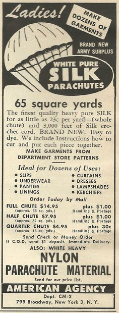 Ladies, make your own panties out of Army parachutes. (1950)