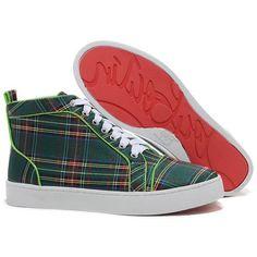 Christian Louboutin Louis Tartan Sneakers Green Red Bottom Shoes