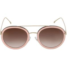 Fendi Women Round Sunglasses (5.706.895 IDR) ❤ liked on Polyvore featuring accessories, eyewear, sunglasses, pink, pink sunglasses, lens glasses, round metal frame glasses, fendi and fendi glasses