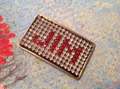 VLV Mens Rare Vintage Western Square Dance 1950's JIM Glass Rhinestone Belt Buckle By Norsell Original 144 Crystals   $65.00
