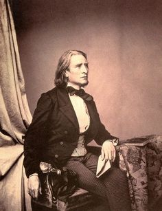 """The First Rock Star! Franz Liszt (1811-1886) Hungarian, Pianist virtuoso, he solved the most intricate problems in piano techniques with the three hand effect and playing octaves. Considered the greatest pianist of his time elevating the musician as a celebrity type status instead of a laborer. His popularity was so well known it was referred to as """"Lisztmania"""". Women fought over his velvet gloves and ripped apart his silk scarves in crazed mania frenzies."""