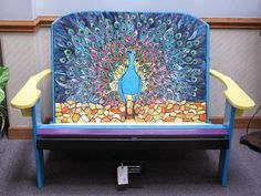 Peacock art glass bench - amazing!