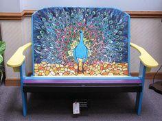 Peacock art glass bench - amazing!