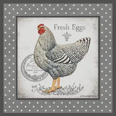 Farm Fresh Eggs II Canvas Art - Gwendolyn Babbit x Chicken Painting, Chicken Art, Decoupage Vintage, Decoupage Paper, Etiquette Vintage, Country Chicken, Rooster Art, Chickens And Roosters, Poster Prints