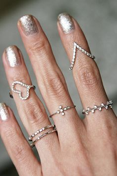 CZ Heart Wrap Midi Ring White Gold from kellinsilver.com